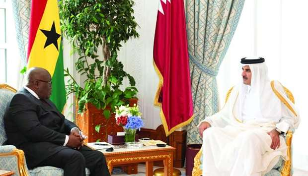 His Highness the Amir Sheikh Tamim bin Hamad al-Thani holding talks with Ghanaian President Nana Aku