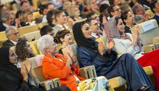 Her Highness Sheikha Moza bint Nasser, Chairperson of Qatar Foundation, attends the closing session
