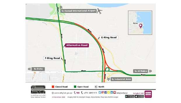 Six-hour partial closure on G-Ring Road towards airport