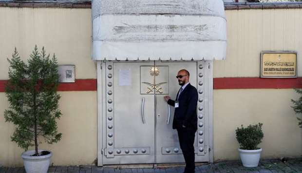 A member of security staff stands at the entrance of Saudi Arabia's consulate in Istanbul, Turkey Oc