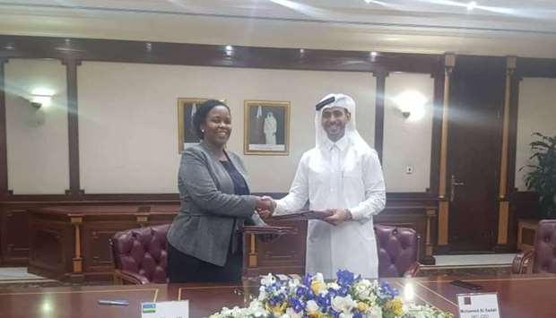 Hassad CEO Mohammed Badr Al Sadah and Clare Akamanzi, CEO of Rwanda Development Board