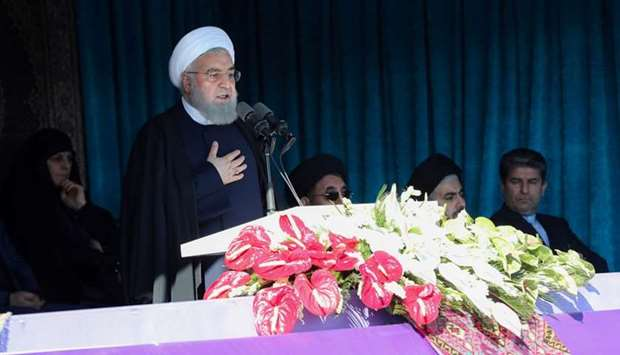 Iranian President Hassan Rouhani gives a public speech in the city of Khoy, West Azerbaijan province