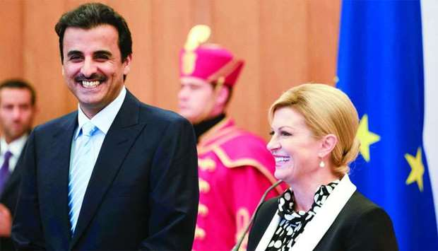 His Highness the Amir Sheikh Tamim bin Hamad al-Thani and Croatian President Kolinda Grabar-Kitarovi