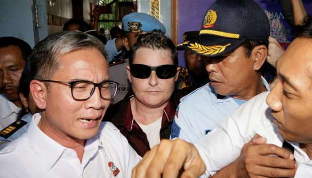 Renae Lawrence (C) is released from prison in Bangli Regency, Bali