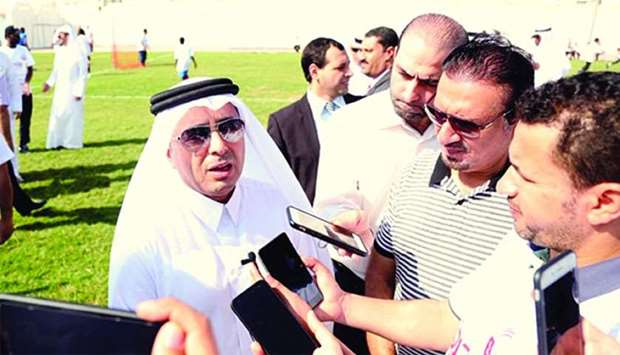 Higher Education Dr Mohamed Abdul Wahed Ali al-Hammadi speaking to newsmen on the sidelines of the f