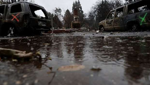Rain falls on a home destroyed by the Camp Fire in Paradise, California
