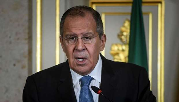 Russian Foreign Affairs minister Sergei Lavrov give a joint press conference with his Portuguese cou