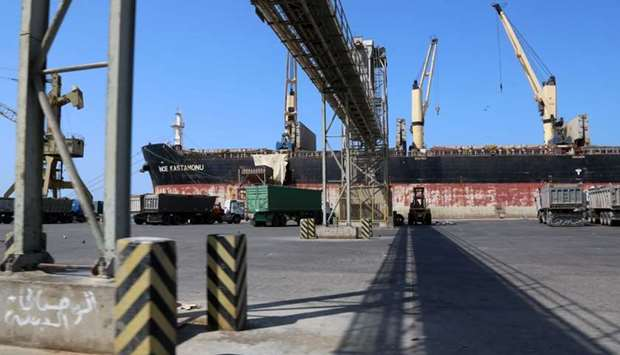 A picture taken on November 22, 2018, shows a partial view of the port of the Red Sea city of Hodeid