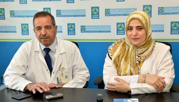 Dr Mahmoud Zirie and Manal Musallam Othman at the press conference.