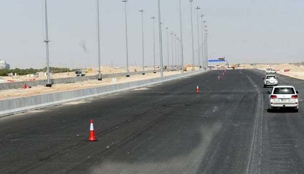 A view of the Al Khor Expressway under construction near the Stadium in Lusail where World Handball