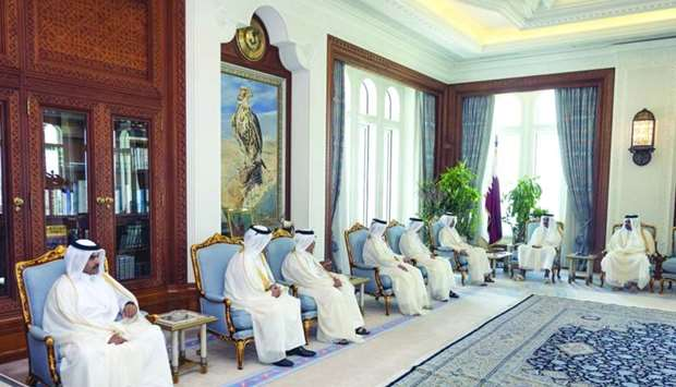 His Highness the Amir Sheikh Tamim bin Hamad al-Thani meeting with the newly appointed ministers.