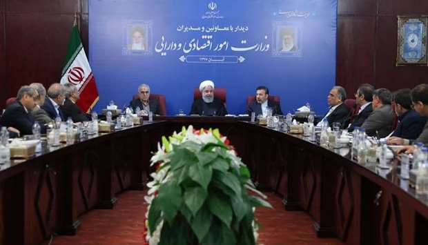 Iran's President Hassan Rouhani (C) attending a cabinet meeting in the capital Tehran. AFP/HO/IRANIA
