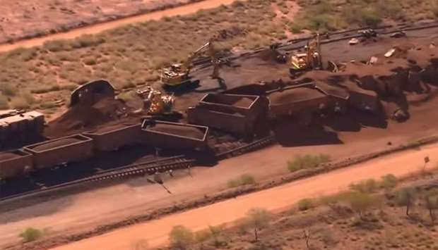 Derailed wagons of runway train- Australia