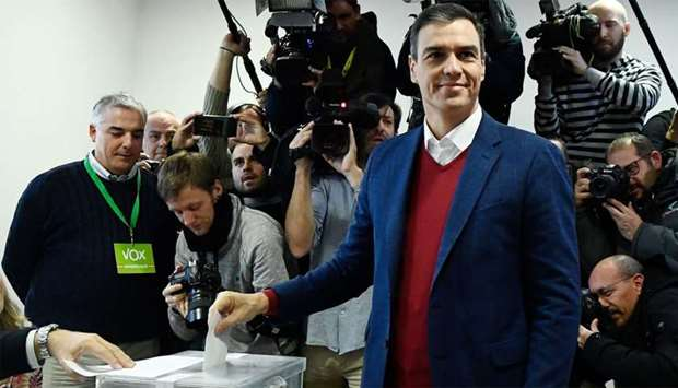 Spanish incumbent prime minister and Socialist Party (PSOE) candidate for re-election, Pedro Sanchez