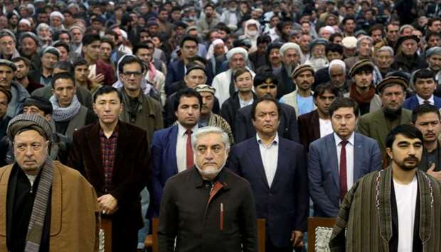 Afghanistan's presidential candidate Abdullah Abdullah attends a gathering with his supporters in Ka