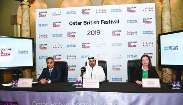 British ambassador Sharma, Katara general manager al-Sulaiti, and British Council Qatar director Ayt