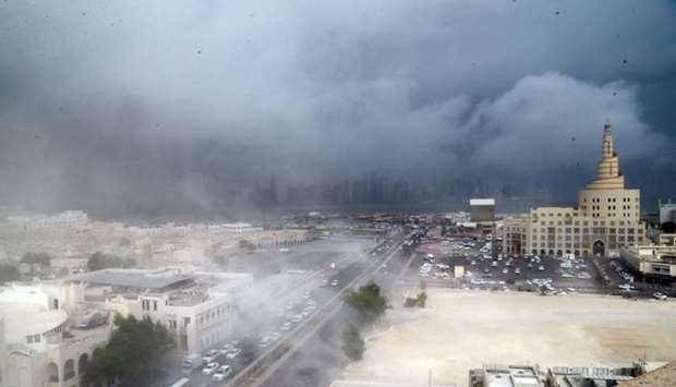 Dust swirls across the Doha skyline shortly before the rain started. PICTURE: Jayan Orma