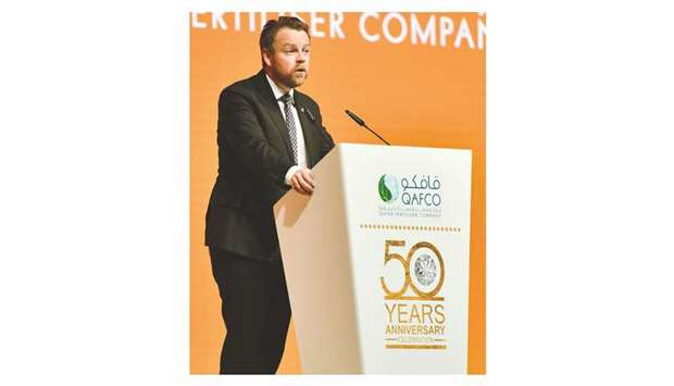 Isaksen speaking at the golden jubilee celebrations of Qafco at the Qatar National Convention Centre