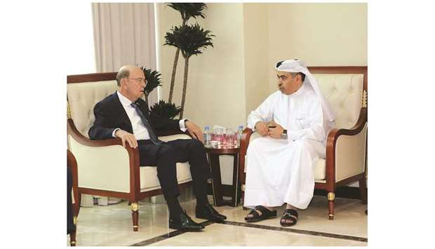 HE al-Kuwari and Ross discussing steps to enhance bilateral trade and business relations.