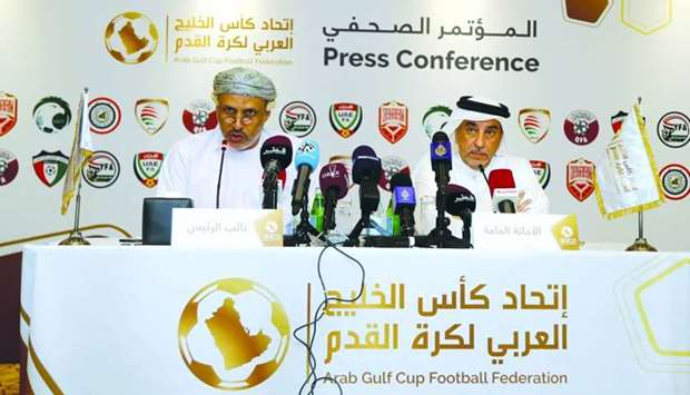 AGCFF vice president Jassim al-Shukali (left) and general secretary Jassim al-Rumaihi announce the p