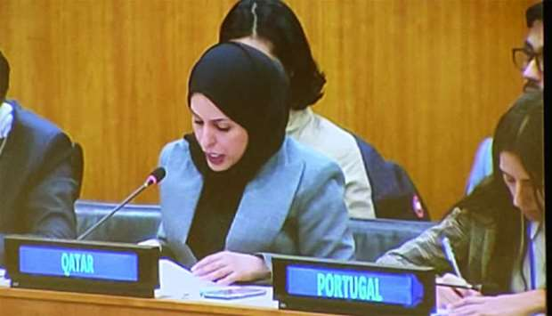 HE Sheikha Alya Ahmed bin Saif al-Thani taking part in the United Nations Pledging Conference for De