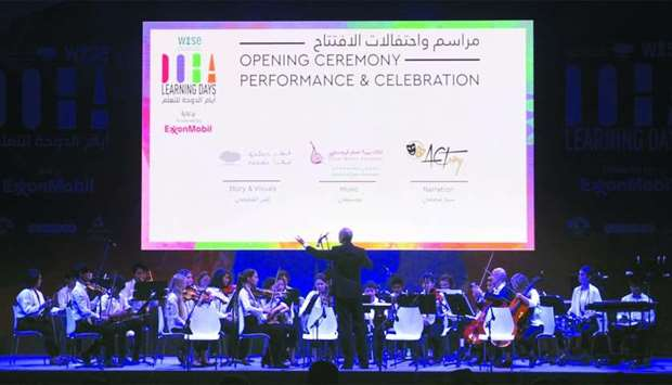 Musicians from Qatar Music Academy Youth Orchestra performing during the opening ceremony of Doha Le