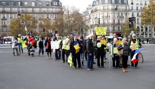 "Demonstration marking the first anniversary of the ""yellow vests"" movement in Paris"