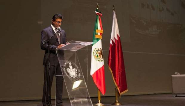 Al-Kuwari speaking at the governmental University of Puebla in Mexico.