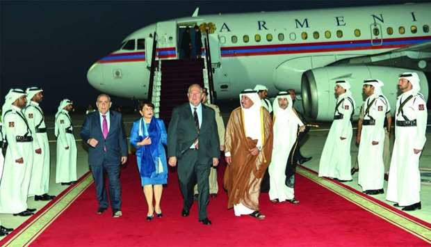 Armenian President Armen Sarkissian arrived in Doha on Sunday on an official visit to Qatar.