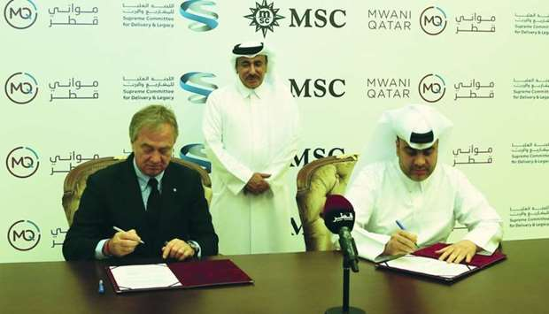 MSC executive chairman Pierfrancesco Vago signs pact with al-Khanji in the presence of HE al-Sulaiti
