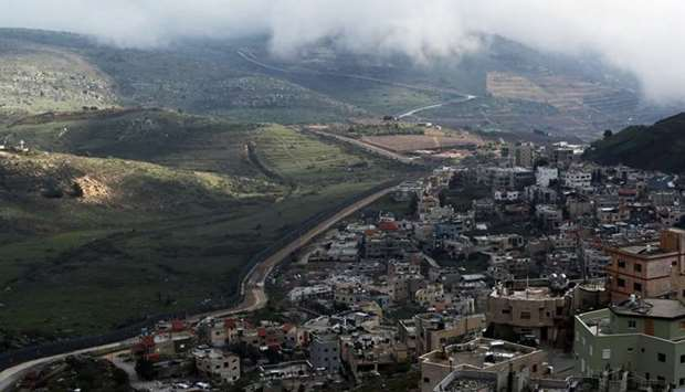A general view shows the town of Majdal Shams near the ceasefire line between Israel and Syria in th