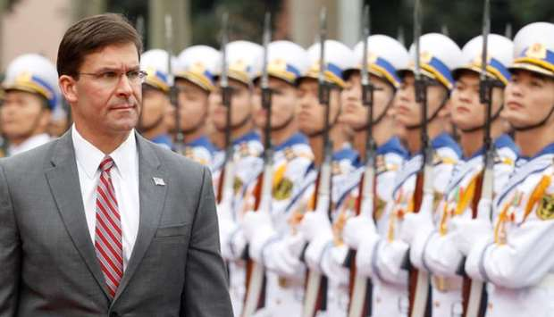 U.S. Defense Secretary Mark Esper reviews the Vietnamese guard of honour during a welcoming ceremony