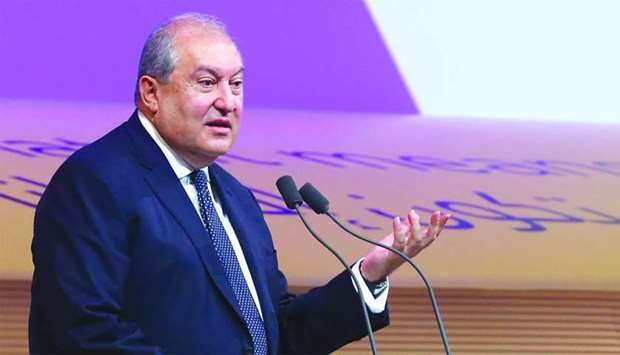 Armen Sarkissian, president of Armenia speaking at the WISE opening plenary session. PICTURE: Jayan