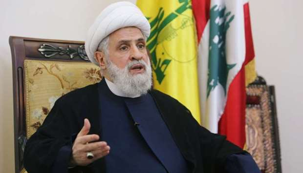 Lebanon's Hezbollah deputy leader Sheikh Naim Kassem speaks during an interview with Reuters in Beir
