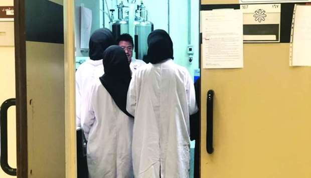 Six female students from Sultan Qaboos University visited QU for an externship in the field of food