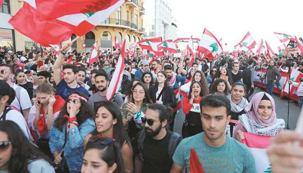Lebanese demonstrators