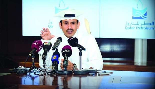 HE the Minister of State for Energy Affairs Saad Sherida al-Kaabi addressing a press conference at t