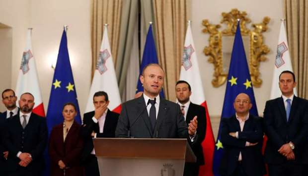Maltese Prime Minister Joseph Muscat addresses a press conference after an urgent Cabinet meeting at