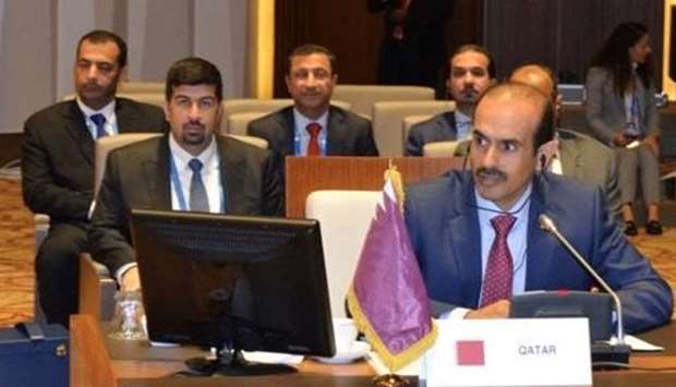 HE Minister of State for Energy Affairs Eng. Saad bin Sherida Al Kaabi addresses the Summit of the H