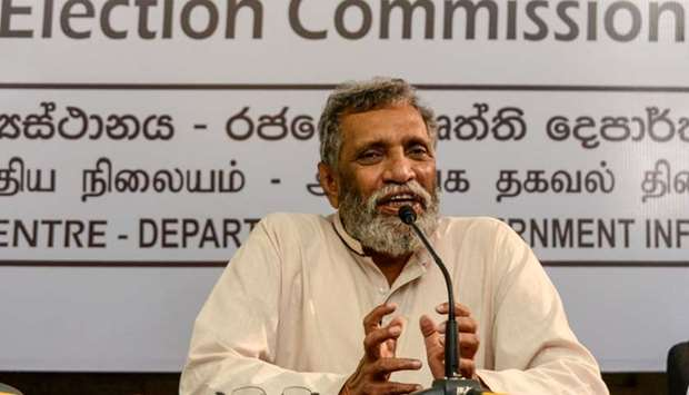 Sri Lanka's Election Commission Chairman Mahinda Deshapriya speaks during a press conference in Colo