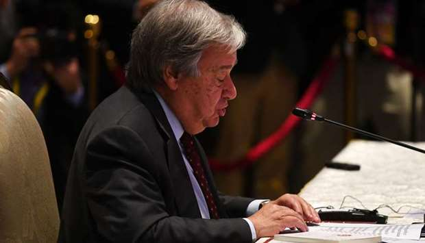 UN Secretary-General Antonio Guterres speaks during the 10th ASEAN-UN Summit in Bangkok