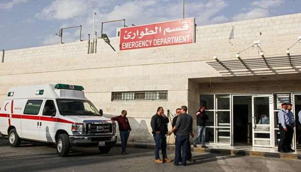 A view of the scene outside Jerash Government Hospital where victims were taken following a knife at