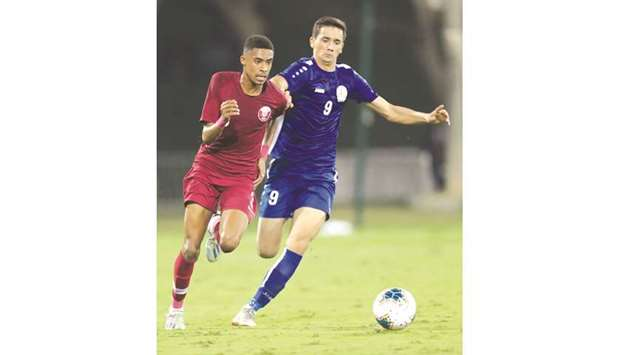 Action from the Qatar-Turkmenistan qualifying match for the AFC U-19 Championship at the Aspire Pitc