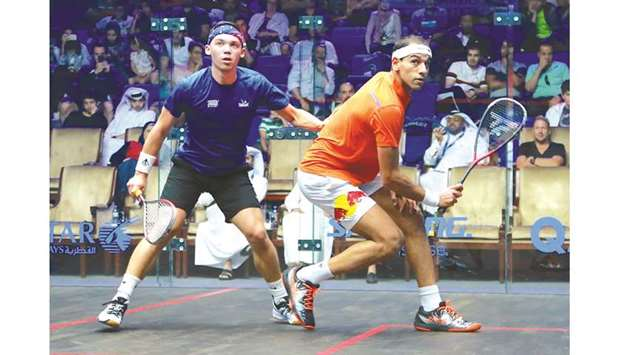 Mohamed ElShorbagy of Egypt (right) in action against Victor Crouin.