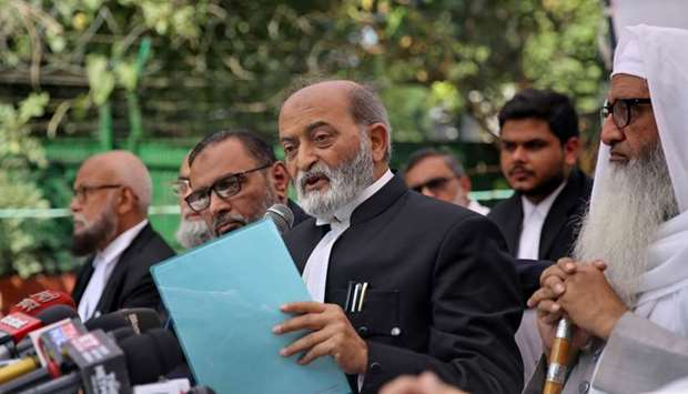 Zafaryab Jilani, a lawyer of All India Muslim Personal Law Board, speaks during a news conference af
