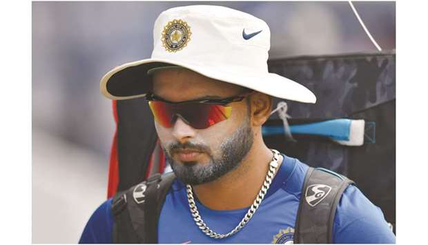 Rishabh Pant attends a training session at the Vidarbha Cricket Association Stadium in Nagpur, India