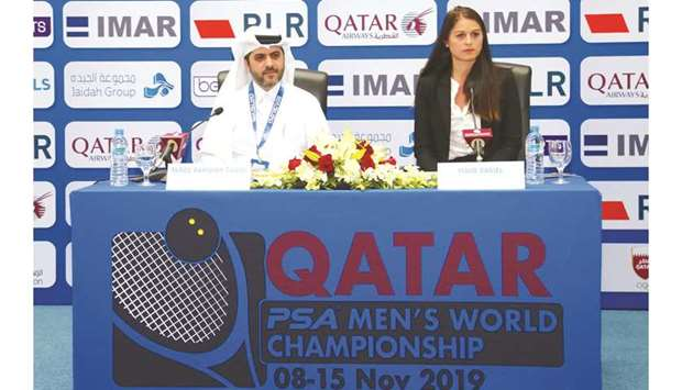 Tariq Zainal, secretary-general of the Qatar Tennis, Squash and Badminton Federation, and Maud Danie