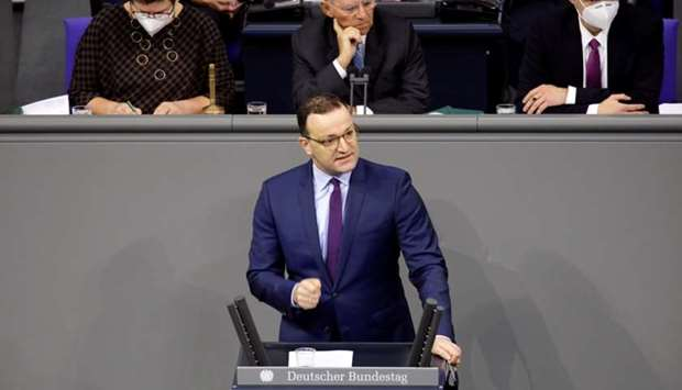 German Health Minister Jens Spahn speaks during a session of the German lower house of parliament Bu