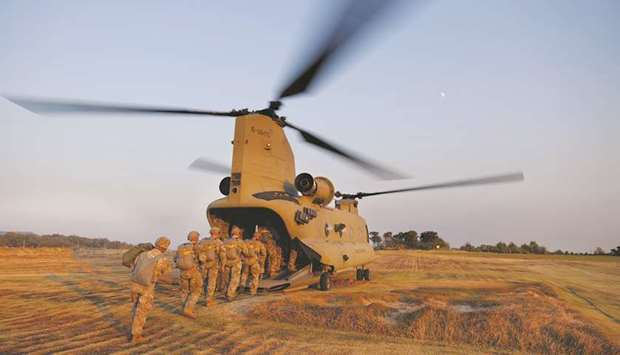 In a file picture, members of South Korea and US Special forces get on a CH-47 Chinook during a join