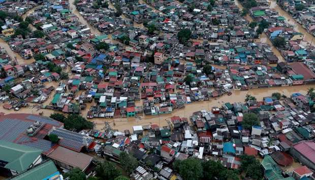 An aerial view of the flooding in Manila, Philippines, as Typhoon Vamco unleashed some of the worst